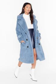Nasty Gal Blue Faux Shearling Longline Coat with B