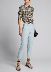 Theory Button-Front Long-Sleeve Straight Silk Shir