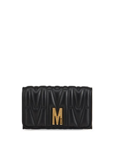 Moschino M-Logo Quilted Chain Shoulder Bag