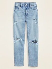 Extra High-Waisted Distressed Boyfriend Jeans for