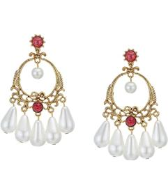 Kenneth Jay Lane Antique Gold Post Earrings with R