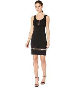 Nicole Miller Heavy Jersey Square Ring V-Neck Dres