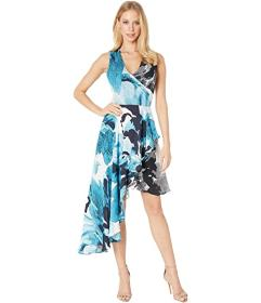 Nicole Miller Watercolor Bloom Asymmetrical Dress