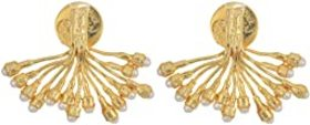Kenneth Jay Lane Gold with Pearl Dots Branch Pierc