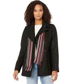 London Fog Maddie Double Breasted Peacoat with Sca