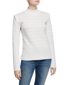 Neiman Marcus Cashmere-Blend Bell-Sleeve Sweater