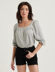 Lucky Brand Striped Square Neck Top