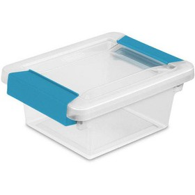 Sterilite Mini Plastic Storage Container with Aqua