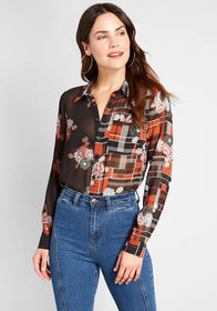 ModCloth Right Sheer, Right Now Blouse Black/Multi