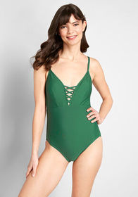 ModCloth The Jenny One-Piece Swimsuit Forest Green