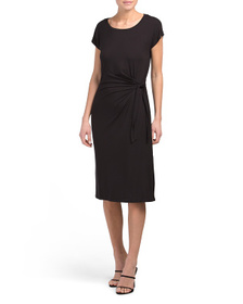 NICOLE MILLER Knit Side Tie Midi Dress