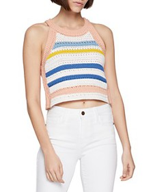 BCBGENERATION - Striped Crochet Cropped Top