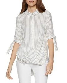 BCBGENERATION - Striped Draped High/Low Blouse