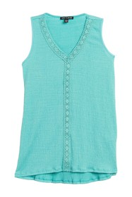Cable & Gauge Lace Trim Sleeveless Top