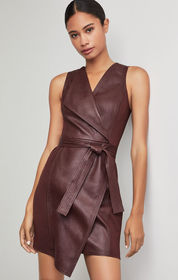BCBG Layla Asymmetrical Pleather Dress