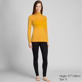 Women Heattech Turtleneck Long-Sleeve T-Shirt, Yel