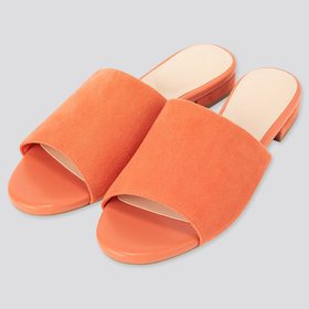 Women Open-Toe Mules, Orange, Medium
