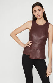 BCBG Tori Faux Leather Peplum Top