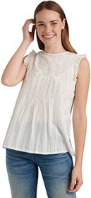 Lucky Brand Sleeveless Crew Neck Shiffly Ruffle To