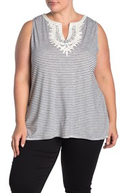Max Studio Striped Sleeveless Knit Top (Plus Size)