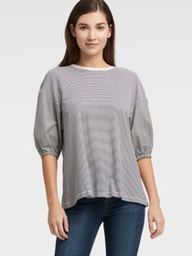 Donna Karan BOUFFANT SLEEVE STRIPED TOP
