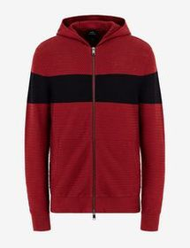 Armani ZIP-UP HOODED KNIT CARDIGAN
