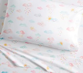 Pottery Barn Organic Rainbow Showers Sheet Set