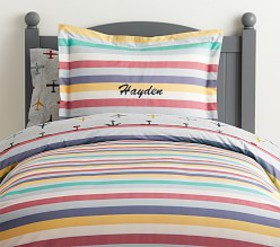 Pottery Barn Organic Max Stripe Duvet Cover
