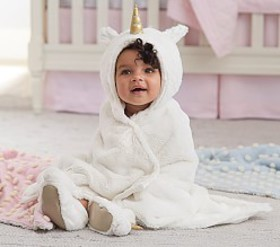 Pottery Barn Faux Fur Unicorn Baby Hooded Towel