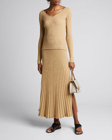 Anna Quan Lulu Ribbed Long Skirt with Side Slit
