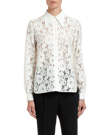 No. 21 Lace Pointed-Collar Shirt