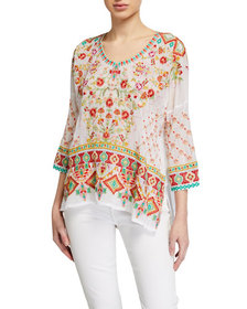 Johnny Was Sandra Embroidered Blouse