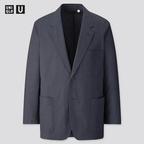 Men U Cotton Linen Jacket, Navy, Medium