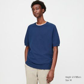 Men Dry Crew Neck Short-Sleeve Sweater, Blue, Medi