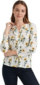 Lucky Brand Long Sleeve Button-Up Floral Ruffle He