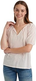 Lucky Brand Short Sleeve V-Neck Embroidered Peasan