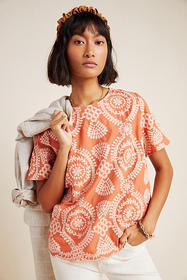 Anthropologie Coralie Embroidered Blouse