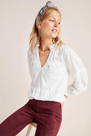 Anthropologie Angela Ruffled Peasant Blouse