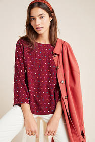 Anthropologie Dottie Embroidered Blouse