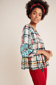 Anthropologie Vanessa Tiered Peasant Blouse
