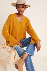 Anthropologie Joy Fringed V-Neck Sweater