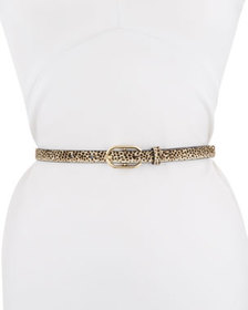 FRAME Leopard-Print Leather Belt with Oval-Buckle