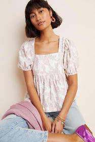 Anthropologie Batia Textured Babydoll Top