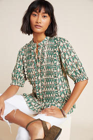 Anthropologie Birdie Ruffled Buttondown