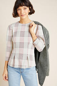 Anthropologie Structured Plaid Pullover