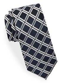 Black Brown 1826 Silk Grid Tie NAVY