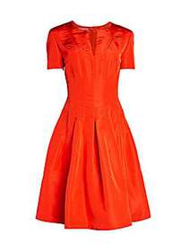 Short-Sleeve Silk Flare Dress PERSIMMON