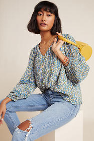 Anthropologie Avery Pleated Peasant Blouse