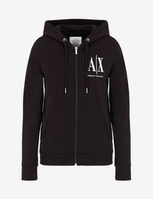 Armani ZIP-UP HOODED ICON LOGO SWEATSHIRT