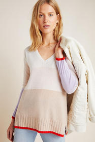 Anthropologie Colorblocked Cashmere Tunic Sweater